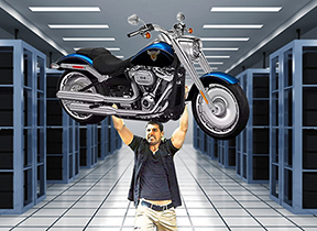 Server Lifting Can Be As Much Work As Lifting A Harley Davidson Fat Boy