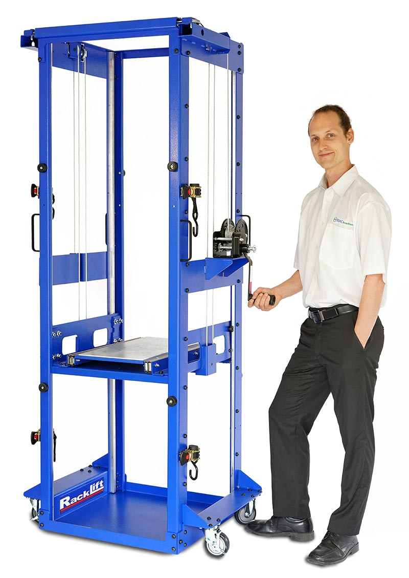 Server lift with Open Back Design For Lifting Oversized Devices