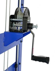 RackLift with winch brake that releases automatically when the user releases the handle.