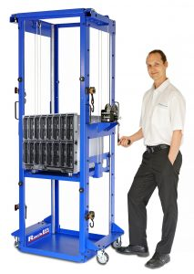 RackLift is a data center lift that can spin 360° in a two-tile aisle.
