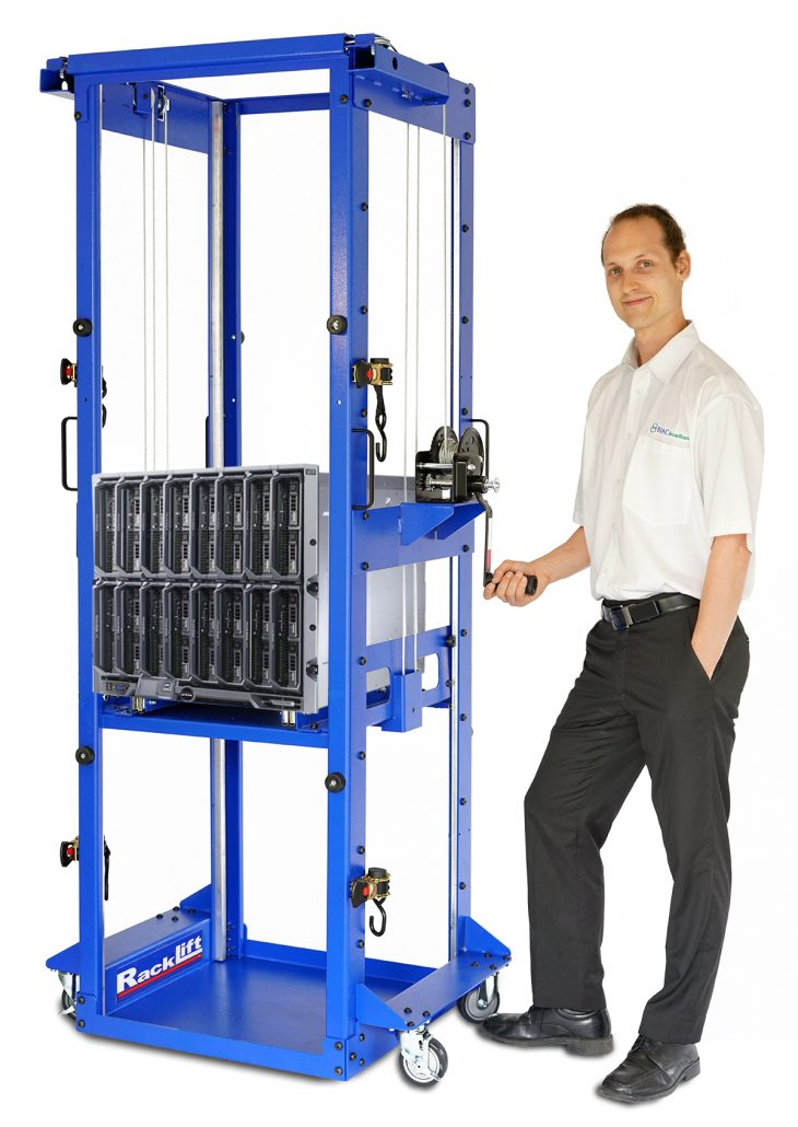 "The RackLift brand Server Jack has a unique ""tower style"" design that creates a small footprint, allowing it to rotate 360° in a two-tile aisle."