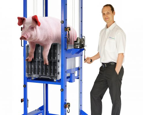 Serverlift device for over sized loads. Server Lifter model RackLift 600RS.